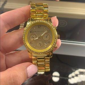 Michael Kors Gold Diamond Bezel Watch